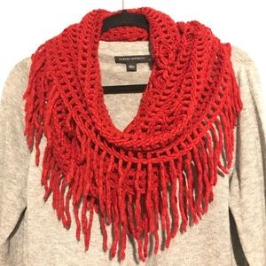 Accessories - Sexy Red Infinity Cold Weather Fringe Scarf Netted